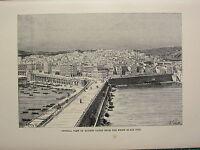 C1890 Antico Stampa ~ Generale Vista Di Algeri Da The Kheir El-Din Pier
