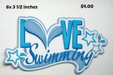 Love Swimming title sport scrapbook premade paper piecing by Rhonda