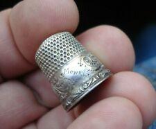 Old antique STERLING silver ornate thimble w tia tamera MOWRY FAMILY NAME sz 6