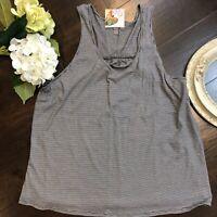 Women's 'District Made' Mini Stripe Gathered Back Sleeveless Cool Tank Top Shirt