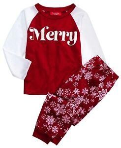Family PJs Kids Merry Snowflakes Christmas Pajama Set M(8), XL(14-16)