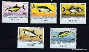 Fish Central African Republic Stamps New Dated 1971 MNH yt 143/47 88M685