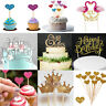 Birthday Cupcake Toppers Love Heart CROWN Party Decor Baby Shower Wedding Cake