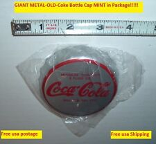 "Vintage Coca Cola Soda Pop OLD 3"" METAL COKE POP BOTTLE CAP MINT Unusual!"