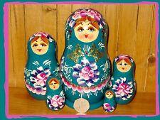 Russian Nesting Doll 5 Pièce Bleu Babushka Papillon MATRYOSHKA artiste NIKITINA