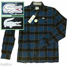 NWT Lacoste Chest pocket Button Down Flannel Buffalo Plaid Shirt Size 38 (S)