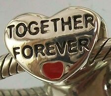 925 STERLING SILVER Together Forever LOVE HEART European slide on CHARM BEAD
