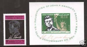 Manama Mi 113/Bl12 MNH. 1966 John F. Kennedy Memorial, single + S/S, scarce, VF