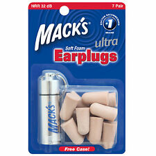 Macks MACK'S #927 Ultra Soft Foam Ear Plugs EarPlugs snoring travel case 7 pairs