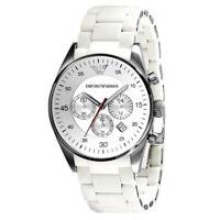 New In Box Emporio Armani AR5859 White Sports Chronograph Men's Steel Watch