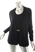 RANI ARABELLA Black Wool Cashmere Blend Faux 2-Piece Tank Cardigan Sweater   XL