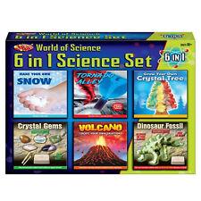 6 in 1 Science Set Volcano Tornado Crystal Gems Dinosaur Fossil Snow Toy Kit