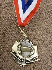 "Ice Skating medal, 1 7/8"" gold color medal, free engraving, w/ neck ribbon"