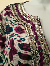 JONES NEW YORK SIGNATURE Silky 3/4 Sleeve Tunic Sequined Beaded Top Womens Sz XL