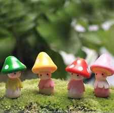 4pcs Cute Mini Resin Mushrooms Fairy Garden Bonsai Doll House Decoration Toys