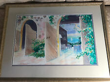 "Large ""Outdoor Lakeside Patio Scene"" Watercolor Painting - Signed And Framed"