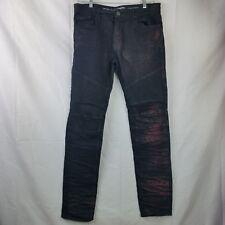 Jordan Craig Jeans Black Aaron Legacy Distressed Motocycle Biker Red Wash 36/34