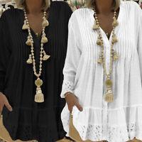 Plus Women Lace Long Sleeve Baggy Tunic Top Blouse V Neck Swing Mini Shirt Dress