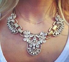 Crystal Cluster Bib Gold Statement Necklace Hot New Fashion Jewelry Luxury Multi