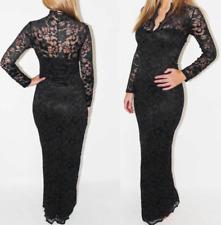 Frauen Maxi Lace V-Ausschnitt Bodycon Abend Party Langärmeliges Kleid Prom