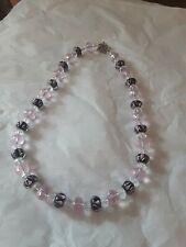 Pink Art Glass Swirl Bead Necklace Aurora Borealis Pink Clear Beaded Black