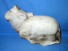 Antique Old Italian Marble Hand Engraved Hindu Idol Nandi Cow Statue-Rich Patina