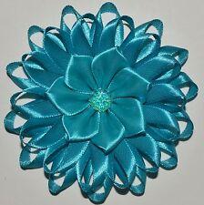 Handmade Filles Turquoise Fleur Pince à Cheveux/Bow, Kanzashi, école/Parti