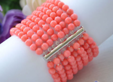Beautiful Rare Real 8row 6MM Round Coral Bead Necklace & Bracelet