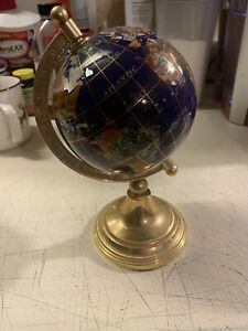 GLOBE in GOLD STAND ROTATING GOLD