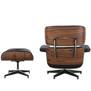 Mid Century Plywood Lounge Chair Ottoman Genuine Aniline Leather Rosewood Walnut