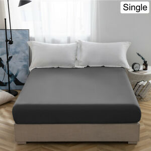 Grey Single Size Bed Fitted Sheet 30CM Deep Pocket Bottom Sheet Fade Resistant