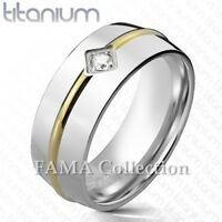 FAMA Solid TITANIUM Gold IP CZ Round Stripe Center Wedding Band Ring Select Size