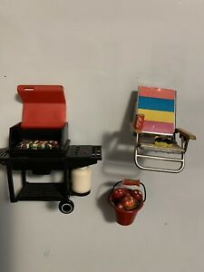 Vintage set of 3 Weber Propane Gas BBQ Grill Food ACME,beach chair,bucketMagnet