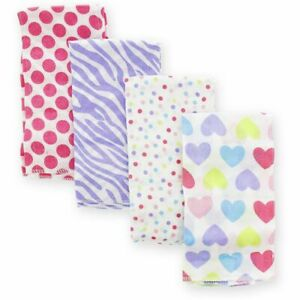 Gerber Baby Girl Print Cotton Prefold Burp Cloths for Baby Shower Gift, 4 Count