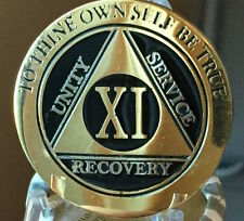 11 Year AA Medallion Black Gold Plated Bi-Plate Alcoholics Anonymous Chip Coin