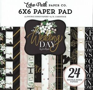 WEDDING DAY Collection Scrapbooking 6x6 IN Paper Pad 24 Sheet Echo Park NEW