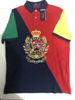 Polo Ralph Lauren Men's SZ L New York Crest Classic Fit Mesh Polo Shirt Red Navy