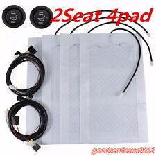 4 Pcs/2 Seats Car Offroad 12V Carbon Fiber Heated Seat Covers Heater Cushion Pad