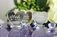 PERSONALISED NAME MIRROR ACRYLIC WEDDING TABLE SETTINGS PLACE HEARTS