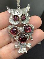 "Purple Glass Bohemian Crystal Owl  Charm Spirit Animal Boho Pendant Necklace 24"""