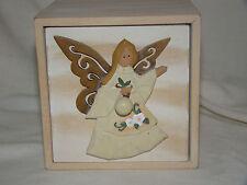 "Angel Design Wooden Keepsake Box - Approx. 4 1/2"" x 4 1/2"" x 4 1/2"" - Wood Angel"