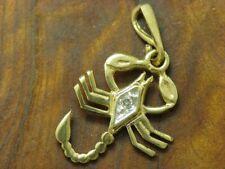 8kt 333 or Jaune Scorpion Pendentif avec Diamant Garniture/0,4g/18,8mm