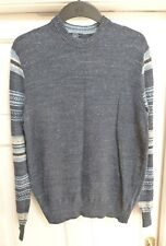Mens Blue Cotton GAP Jumper With Nordic Print Sleeves Size Medium