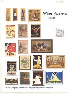 Kit - WINE POSTER sheet   SB268     dollhouse miniature Dragonfly 1/12 scale