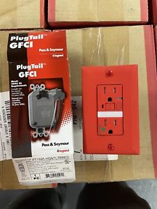 10 pc 15 AMP GFCI RED HOSPITAL GRDE TAMPER RESISTANT NIGHTLIGHT INCLUDE PLUGTAIL