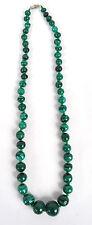 Rich Green Malachite Graduated Bead Necklace Long