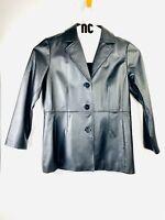 Womens  Worthington Black Coat 100% Genuine Leather Jacket  Sz P/Large RJ100224