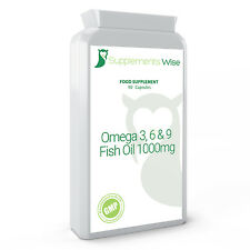 Omega 3 6 9 Capsules 90 x 1000mg HIGH STRENGTH Skin Joints Heart Supplement