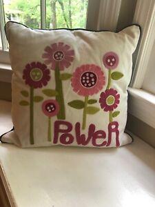 """Pottery Barn PB Teen Flower Power decorative throw Pillow + Insert 17"""" X 17"""""""