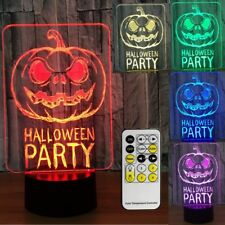 3D Night Light LED Table Top Jack o lanterns Halloween Adjustable 7 Color Remote